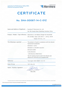 CE&LVD Certificate of STC-8108LC By Hermes